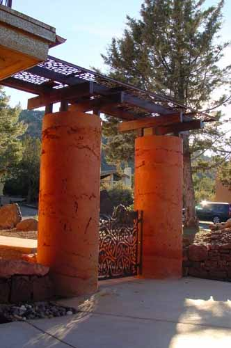 Poured Earth entry columns of a Poured Earth home in Sedona, AZ