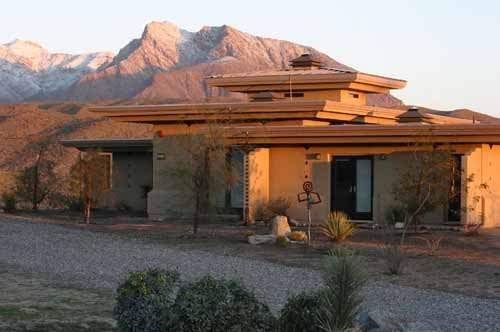 Front view of a net-plus home located in Borrego Springs, California,  that was featured in Newsweek magazine