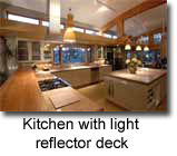 Kitchen with light reflector deck
